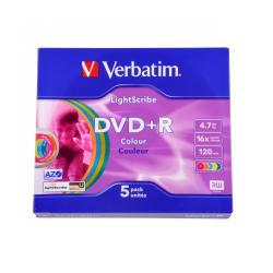 DVD+R VERBATIM 4,7GB 16X LIGHTSCRIBE COLOUR V1,2 SLIM *5szt, 5sztuk