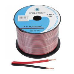 Kabel głośnikowy CCA 0.20mm czarno-czerwony, rolka