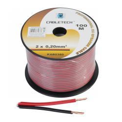 Kabel głośnikowy 0,2mm czarno-czerwony, rolka