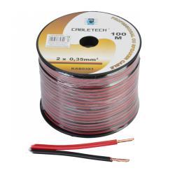 Kabel głośnikowy 0,35mm czarno-czerwony, rolka