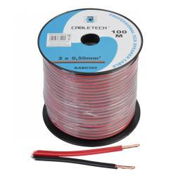 Kabel głośnikowy CCA 0.50mm czarno-czerwony, rolka