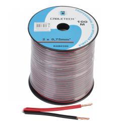 Kabel głośnikowy CCA 0.75mm czarno-czerwony, rolka