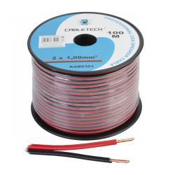 Kabel głośnikowy CCA 1.0mm czarno-czerwony, rolka