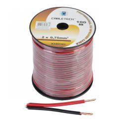 Kabel głośnikowy 0,75mm czarno-czerwony, rolka