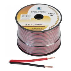 Kabel głośnikowy 1,0mm czarno-czerwony, rolka