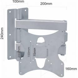Uchwyt do LCD wysuwany uniwersalny srebrny do 30kg.