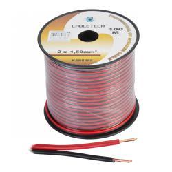 Kabel głośnikowy 1,5mm czarno-czerwony, rolka
