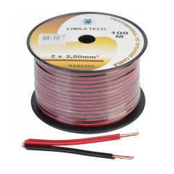 Kabel głośnikowy 2,5mm czarno-czerwony, rolka