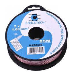 Kabel głośnikowy CCA 1.0mm 25M, rolka