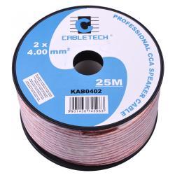 Kabel głośnikowy CCA 4.0mm 25M, rolka