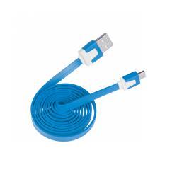 Kabel USB - microUSB niebieski płaski