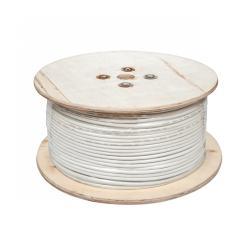 Kabel koncentryczny 3c 2v biały CCA żyła + CCA oplot 500m, rolka