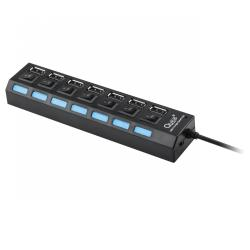 HUB USB 7 portowy Quer czarny z wyłącznikami