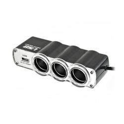 Rozgałęziacz gniazda zapalniczki x3 z kablem i USB