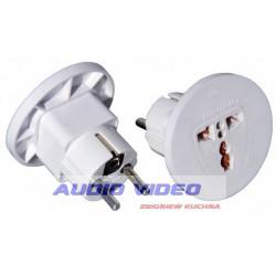 .Wtyk adaptor AC/AC Wyk PL/gniazdo uniwersalne