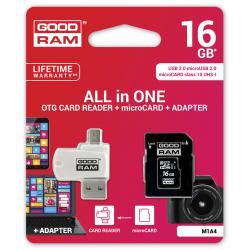 Karta pamięci microSD 16GB UHS-I Goodram z apapterem i czytnikiem