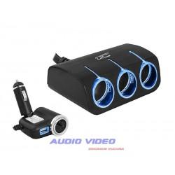 Rozgałęziacz zapaln. LED 3+1gn 120W/USB 1200mA 12/24V czarny AS4 CAR FIRE