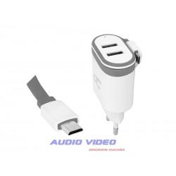 Ładowarka sieciowa wtyk micro USB 2A + 2 gniazda USB