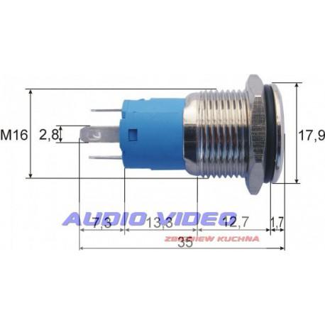 Przełącznik ON-OFF metal LED PBS33A biały